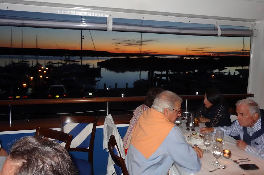 Sunset from the dining room of the Bay Kitchen Bar restaurant in East Hampton, NY.