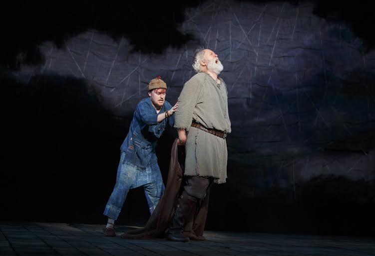 Steven Boyer and John Lithgow in The Public Theater's free Shakespeare in the Park production of King Lear, directed by Daniel Sullivan with scenic design by John Lee Beatty, running at the Delacorte Theater in Central Park through August 17. Photo credit: Joan Marcus.